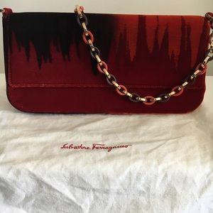 Ferragamo red orange purple velvet chain bag